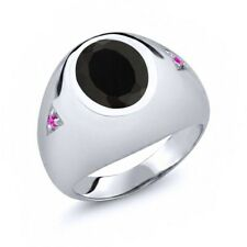 4.10 Ct Oval Black Onyx Pink Sapphire 925 Sterling Silver Men's Ring