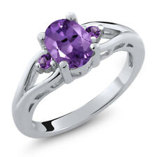 1.08 Ct Oval Purple Amethyst 925 Sterling Silver Ring