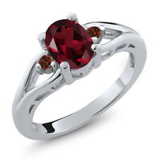 1.43 Ct Oval Red Rhodolite Garnet Red Garnet 925 Sterling Silver Ring