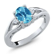 1.38 Ct Oval Checkerboard Swiss Blue Topaz White Topaz 925 Sterling Silver Ring