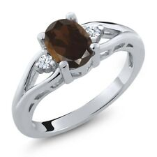1.28 Ct Oval Brown Smoky Quartz White Created Sapphire 925 Sterling Silver Ring