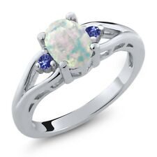 1.13 Ct Oval White Simulated Opal Blue Tanzanite 925 Sterling Silver Ring