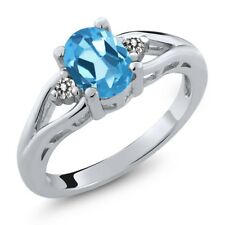 1.37 Ct Oval Swiss Blue Topaz White Diamond 925 Sterling Silver Ring