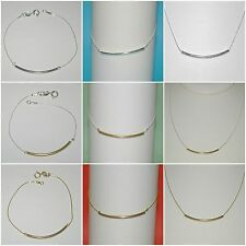 Curved Tube Bracelet, Anklet, Necklace, 925 Sterling Silver, 14kt Gold Filled