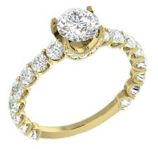 I1/G 2.60Ct Real Sparkly Diamond 14Kt Solid Gold Solitaire Anniversary Ring Band