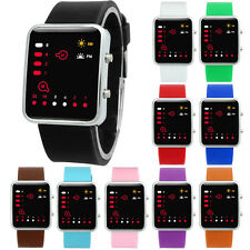 Womens Watches Digital Red LED Sports Watch Binary Wristwatch Silicone Gift LOT