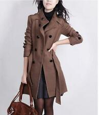 Womens Fashion Slim Fit Double Breasted Trench Woolen Coat Korean Jackets Size 9