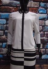 MARKS & SPENCER IVORY/BLACK CHIFFON BLOUSE EMBELLISHED COLLAR RRP£45 8 TO 18