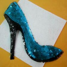 High Heel Sequins Pumps Shoes Iron on Patch Applique Sew Badge Embroidered Cute