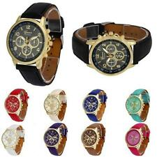 Geneva Luxury Casual Leather Man Women Watch Analog Quartz Unisex Wrist Watches