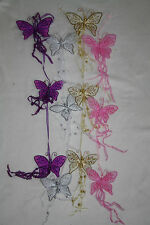 WALL HANGING nylon net butterfly glitter organza 3 butterflies bedroom wedding