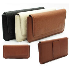 New Matte PU Leather Belt Clip Holster Pouch Flip Case Cover For Samsung Apple