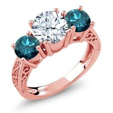 2.50 Ct Round White Topaz Blue Diamond 18K Rose Gold Plated Silver 3-Stone Ring