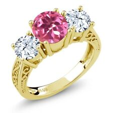 2.30 Ct Pink Mystic Topaz White Topaz 18K Yellow Gold Plated Silver 3-Stone Ring
