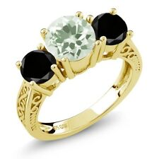 2.20 Ct Green Amethyst Black Diamond 18K Yellow Gold Plated Silver 3-Stone Ring