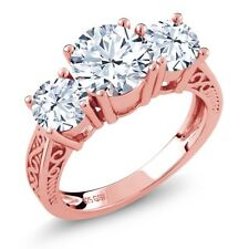 2.40 Ct Round White VS Topaz 18K Rose Gold Plated Silver 3-Stone Ring