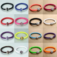 Leather Charm Wrap Wristband Magnetic Rhinestone Buckle Cuff Bracelet Bangle 1Pc