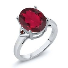 4.02 Ct Oval Ruby Red Mystic Quartz Red Garnet 14K White Gold Ring