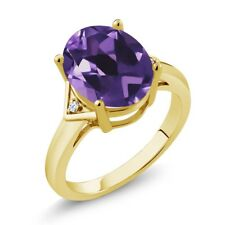 4.02 Ct Oval Purple Amethyst White Topaz 18K Yellow Gold Plated Silver Ring