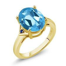 5.02 Ct Oval Swiss Blue Topaz Blue Sapphire 18K Yellow Gold Plated Silver Ring