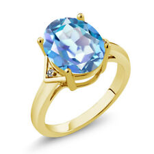 4.01 Ct Oval Millennium Blue Mystic Quartz White Diamond 14K Yellow Gold Ring