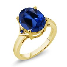 6.15 Ct Blue Simulated Sapphire Blue Sapphire 18K Yellow Gold Plated Silver Ring