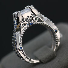 Women's Fashion Inlay Sapphire White Crystal Rings Silver Rings Vintage Hot