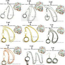 1 set living  memory galss floating charm locket with chain and 10 free charms