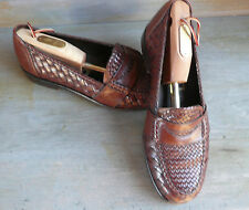 COLE HAAN BRAGANO Men 8 1/2M WOVENBrown Leather Slipon Penny Loafer Shoes ITALY