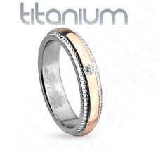 4mm Grooved Step Edge Solitaire CZ Rose Gold IP Titanium Women's Wedding Band