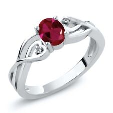 0.51 Ct Oval Red Created Ruby White Diamond 925 Sterling Silver Ring
