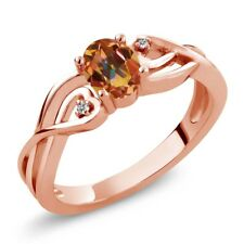 0.51 Ct Oval Ecstasy Mystic Topaz White Diamond 18K Rose Gold Plated Silver Ring