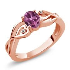 0.51 Ct Oval Pink Tourmaline White Diamond 18K Rose Gold Plated Silver Ring