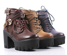 Sexy 2 Tone Combat Military Lace Up Back Zipper High Heels Platform Women Boots