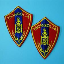 2 Flag Mongolia Iron on Sew Patch Applique Badge Embroidered Biker Applique Cute