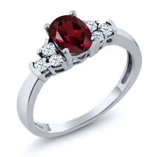 0.82 Ct Oval Red Rhodolite Garnet White Topaz 925 Sterling Silver Ring