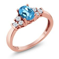 0.82 Ct Oval Swiss Blue Topaz White Topaz 18K Rose Gold Plated Silver Ring