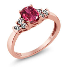 0.76 Ct Oval Pink Tourmaline White Diamond 18K Rose Gold Plated Silver Ring