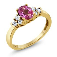 0.82 Ct Oval Pink Mystic Topaz White Topaz 18K Yellow Gold Ring