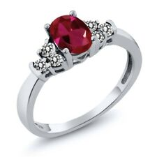 0.76 Ct Oval Red Created Ruby White Diamond 925 Sterling Silver Ring