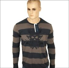 Bnwt Men's French Connection Long Sleeved Striped Skull T Shirt Top Grey