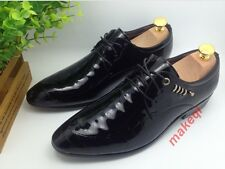 Mens Casual Leisure  Lace Up Leather Pointy Toe Dress Formal Shoes Size Black