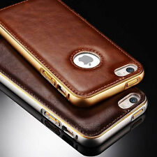 Luxury Leather Aluminum Metal Bumper Frame Case Cover for iPhone 6 / 6S Plus 5.5