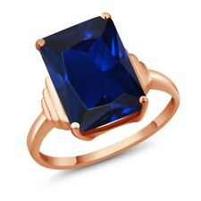 1Octagon Blue Simulated Sapphire 18K Rose Gold Ring