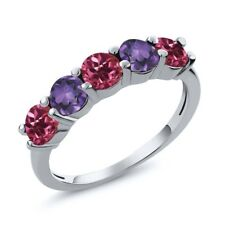 0.75 Ct Pink Tourmaline Purple Amethyst 925 Sterling Silver Wedding Band Ring