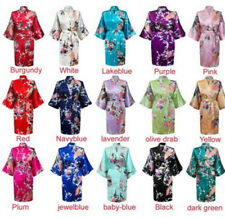 2016 NEW Bridesmaid Peacock Short Kimono Robe Wedding Women Satin Silk Sleepwear