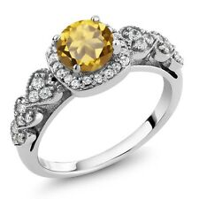 1.12 Ct Round Champagne Quartz 925 Sterling Silver Ring