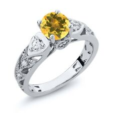 1.96 Ct Round Yellow Citrine 925 Sterling Silver Ring