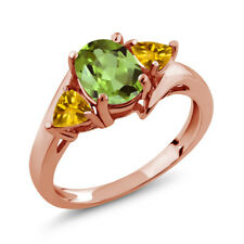 1.73 Ct Oval Green Peridot Yellow Citrine 18K Rose Gold Plated Silver Ring