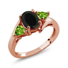1.77 Ct Oval Black Onyx Green Peridot 18K Rose Gold Plated Silver Ring